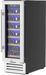 MOOSOO 12'' Wine Cooler, 18 Bottles Built-in or Freestanding with Compressor Wine Refrigerator, Temperature Memory and No Fog Tempered Glass Door Wine Fridge for Kitchen, Dorm, Office, Home Bar