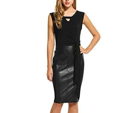 4b59cc00f7cf3d Leather Pencil Dress Women Hollow Out Sleeveless Casual Tight Dress with  Belt Business