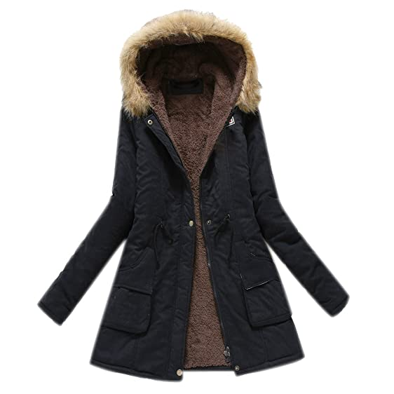 Parka Womens Parkas Anoraks Long Thick Trench Coat with Hood Navy ...