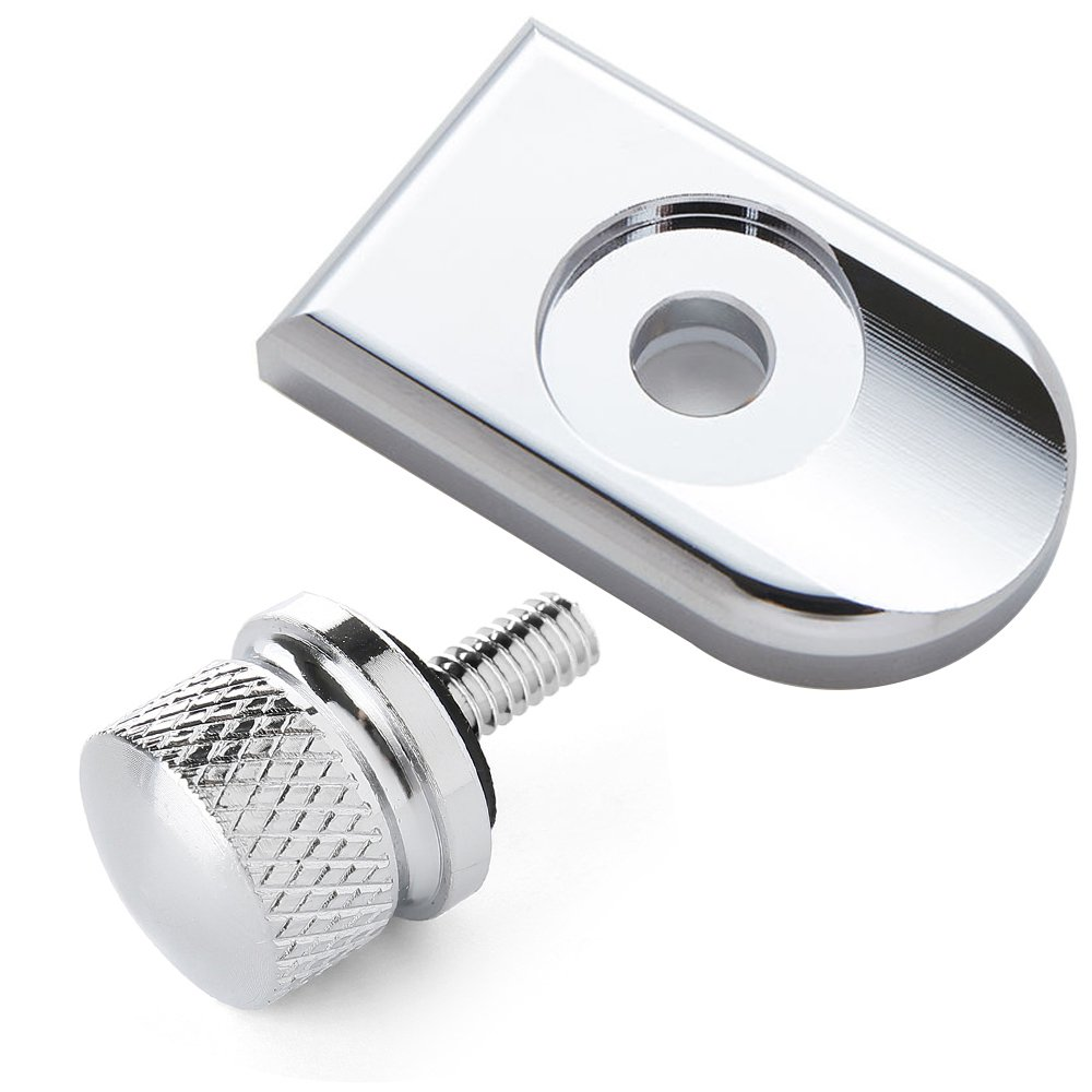 Chrome knurled Billet Aluminum Screw Seat Bolt with Knob Cover Tab Bracket for Harley Davidson Sportster DYNA Softail Touring Models 1996-2016