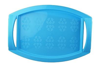 Plástico aromatizante para alimentos y bebidas 45 x 33 cm Bandeja para servir con asas azul