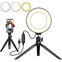 "Beauty LED Ringlicht Dimmbar Selfie Light Kit Makeup Fotografie Beleuchtung Mini Kreis Desktop Lampe Licht mit Cellp Hone Halter für YouTube Videos/Foto/Streaming/Instagram(6"")"