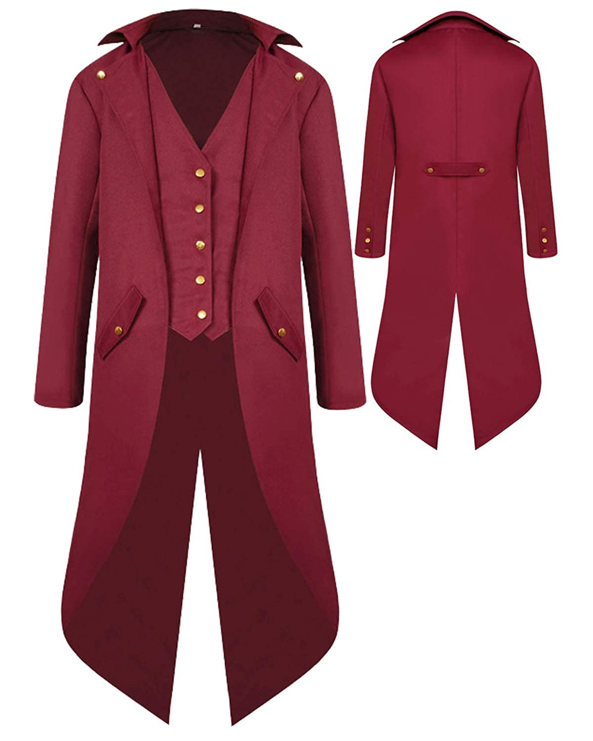 SIAEAMRG Renaissance Steampunk Tailcoat Halloween Costumes for Boys Medieval Pirate Vampire Victorian Jacket Frock Coat Kids