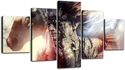 Indian Chief Picture Modern Abstract Home Deco Painting on Canvas Wall Art Artworks Posters and Prints for living room Hotel Bar 5 Panel Painting Gallery-wrapped Canvas Art Set Framed 60 W x 32 H