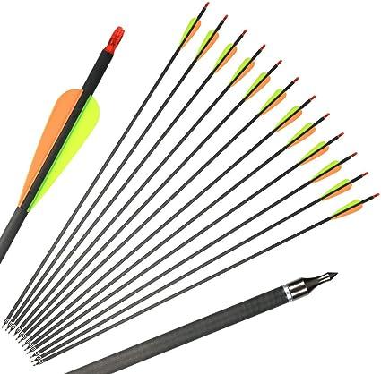 "31/"" Archery Carbon Arrow Spine 400 100 Grain Field Points Hunting Broadheads"