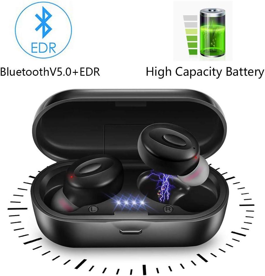 lifeicomall audífonos inalámbricos, Mini audífonos intraurales, a Prueba de Sudor, estéreo, Bluetooth, micrófono Integrado con Funda de Carga para iOS y la mayoría de teléfonos Inteligentes Android