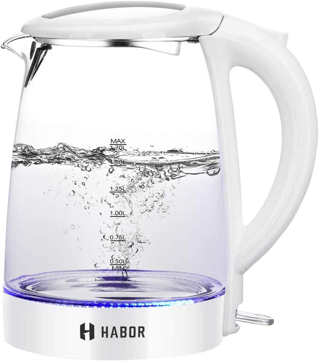Habor Electric Kettle, BPA-Free Hot Water Kettle, 1500W 1.7L Fast Boiling Glass Kettle with Blue LED Light, Auto Shut-Off & Boil-Dry Protection, Stainless Steel Inner Lip & Bottom