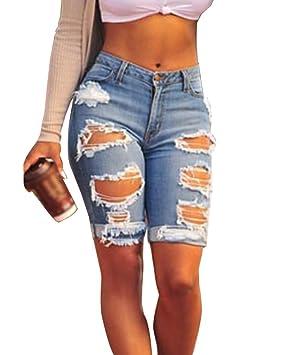 426758b2c9 Gladiolus Mujer Agujeros Rasgados Flaco Pantalones Cortos Jeans Cintura  Alta Shorts Bermudas Azul Marino EU46: Amazon.es: Deportes y aire libre