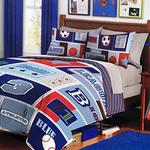 Embroidered Pique Sham (Sports And Stars 2-Piece Twin Comforter Boy Bedding Set Beautiful Vibrant Fun Colors Ball Blanket Design Comfy Sleeping Soft Cute Reversible Pattern All Star Blue Leaders Great Addition To Kid Bedroom)