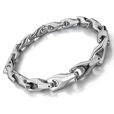 im Angebot abwechslungsreiche neueste Designs verschiedene Stile MunkiMix 7mm Wolframcarbid Wolfram Armband Link Handgelenk Silber Ton Herren