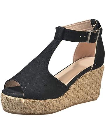 92eecaa4a71401 Duseedik Summer Women s Sandals Wedge High Platform Flock Leopard Ankle  Outdoor Sandals Peep Toe Casual Outdoor