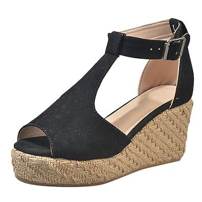 fcdc153b7f91 Women Wedge Sandals Leather Ankle Strap Gladiator Espadrilles Platform High  Heels Open Toe Slingback Flip Flops