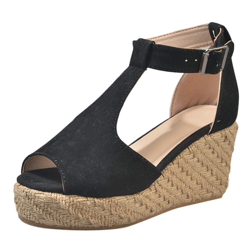 【MOHOLL】 Women's Ankle Buckle Espadrille Platform Sandals Black