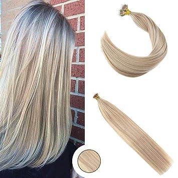 Ugeat 24zoll Micro Nano Ring Echthaar Extensions Ombre 18613 Highlight Blond Haarverlangerung Glatt Nanorings 1g 50gpacken