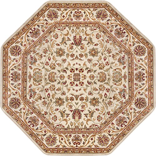 Ventura Transitional Oriental Ivory Octagon Area Rug, 5' Octagon