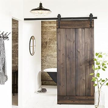 Tinkertonk 6 FT/183cm Black Retro Style Sliding Barn Wood Door Hardware Closet  Set For