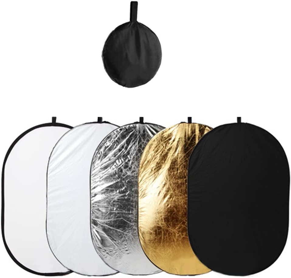 Dison Pro Studio 24-inch // 60cm 5-1 Circular Collapsible Multi-Disc Light Reflector Photography with Bag Translucent White and Black Gold Silver