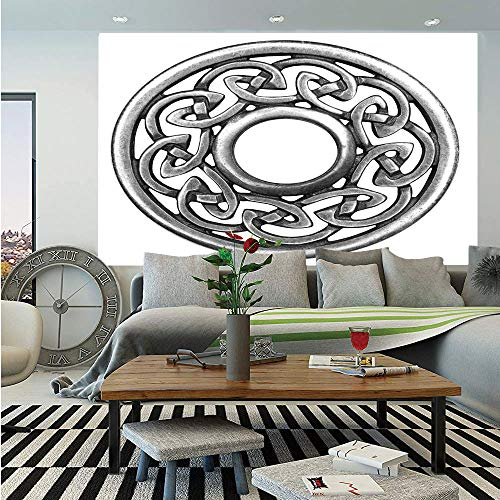 (SoSung Celtic Huge Photo Wall Mural,Royal Style Circular Celtic Pattern Graphic Print Metal Brooch Design Scottish Shield,Self-Adhesive Large Wallpaper for Home Decor 108x152 inches,Silver)