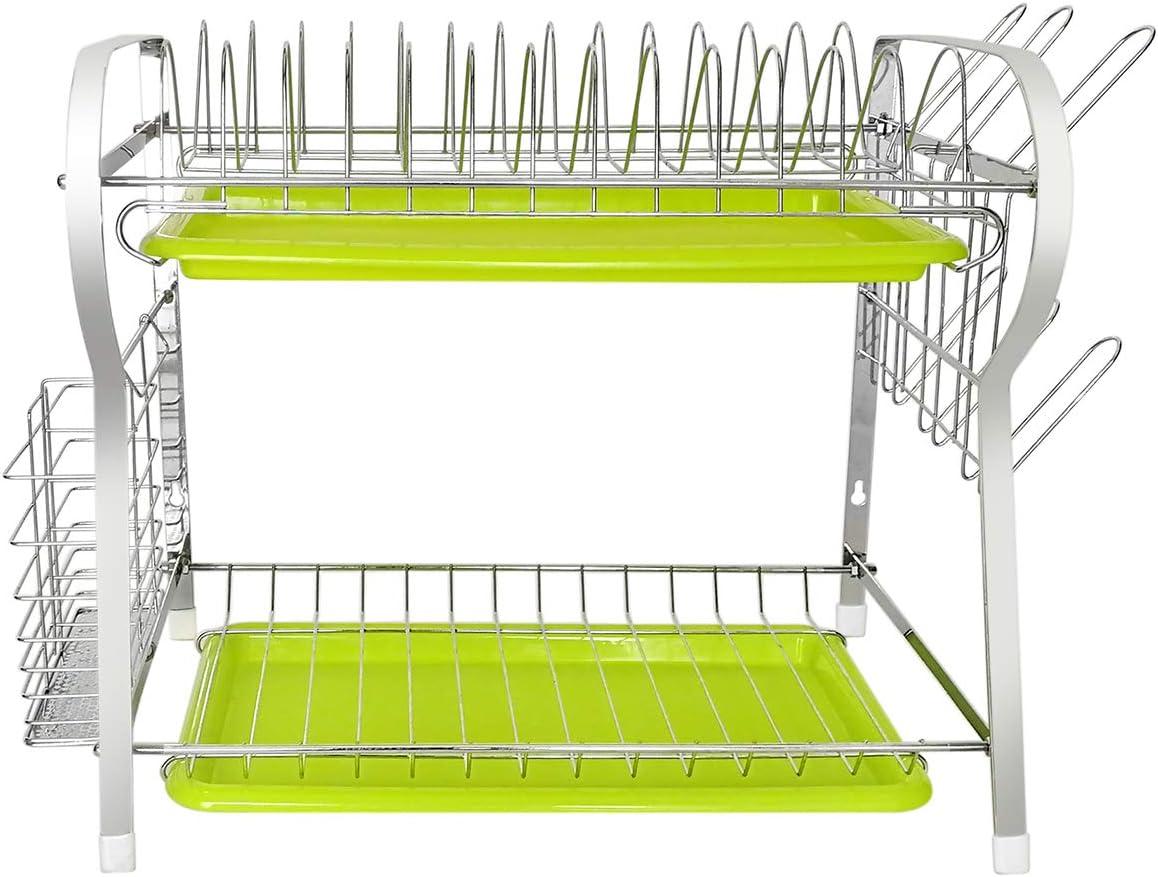 Feibrand Escurridor de Platos y Vasos con Bandeja Escurreplatos Secaplatos de Cocina Compacto Pared
