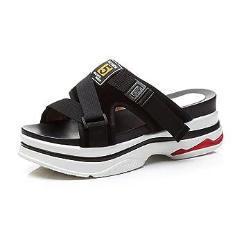 KJJDE Damen Riemchen Wedges Sandalen JZTC-2617 Mode Zopf High Heels Schuhe Bequem 6.5CM