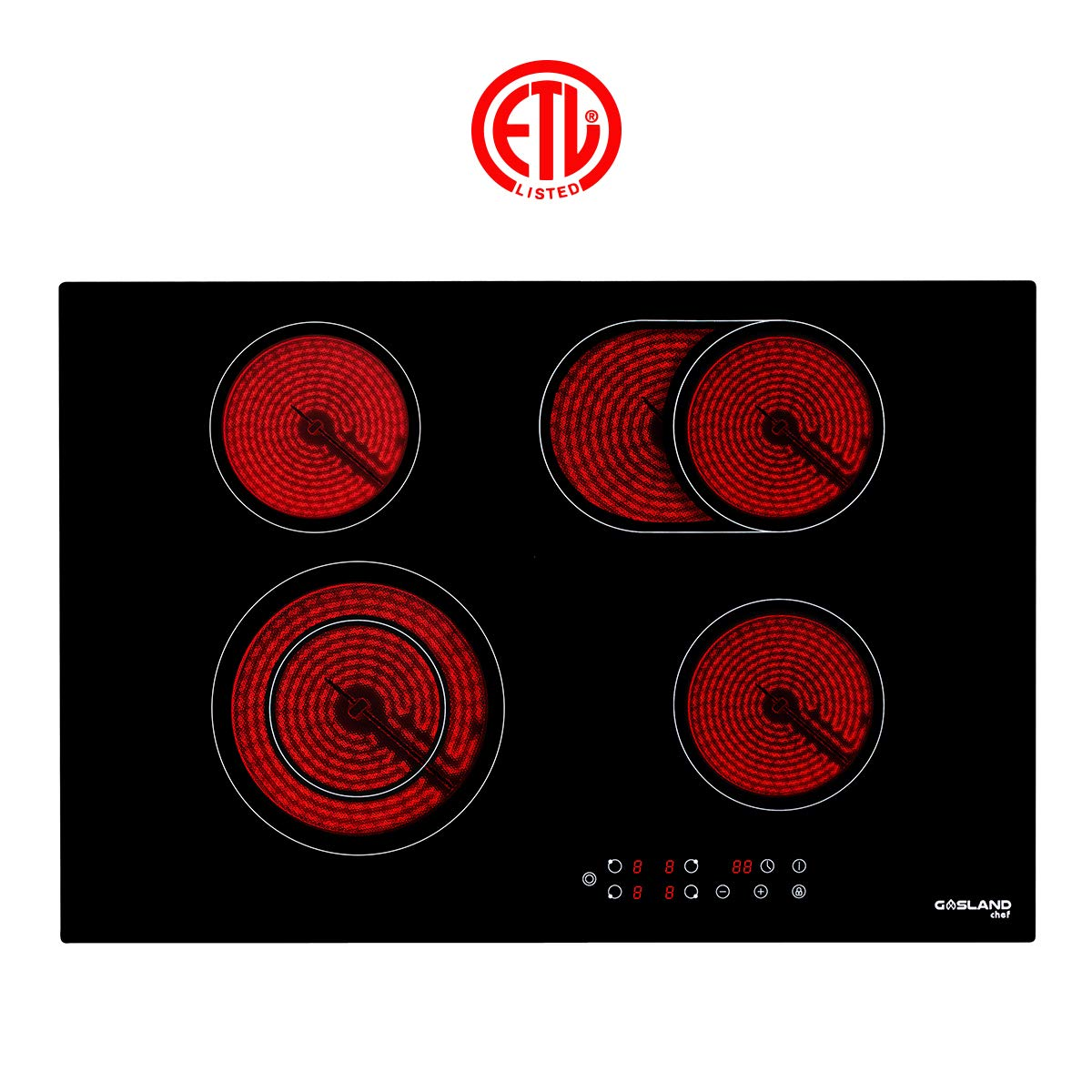 ETL Safety Certified Electric Stove With 4 Burners Electric Cooktop Vitro Ceramic Surface Radiant Electric Cooktop Kids Safety Lock Easy To Clean Gasland chef CH77BF 30 Built-in Electric Stove