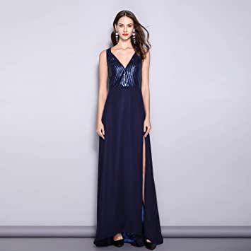 06cc4ea0c7e584 Ladies Sequins V-Neck Slim Evening Dress Fashion Pure Color Long Satin  Sleeveless Floor Length Dresses Ideal for Ladies Girls Ball Gowns Party Wear:  ...
