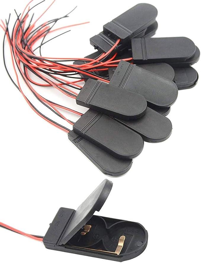 CR2032 Knopfzellen-Batteriefachhalter /& Ein Aus-Schalterkabel schwarz  Ng/_lk