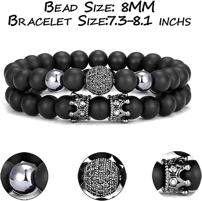 WAINIS 4 PCS 8mm Crown King Charm Beads Bracelet for Men Women Natural Black Matte Onyx Stone Beads Elastic Adjustablle Bead Link Bracelet Set,7.5