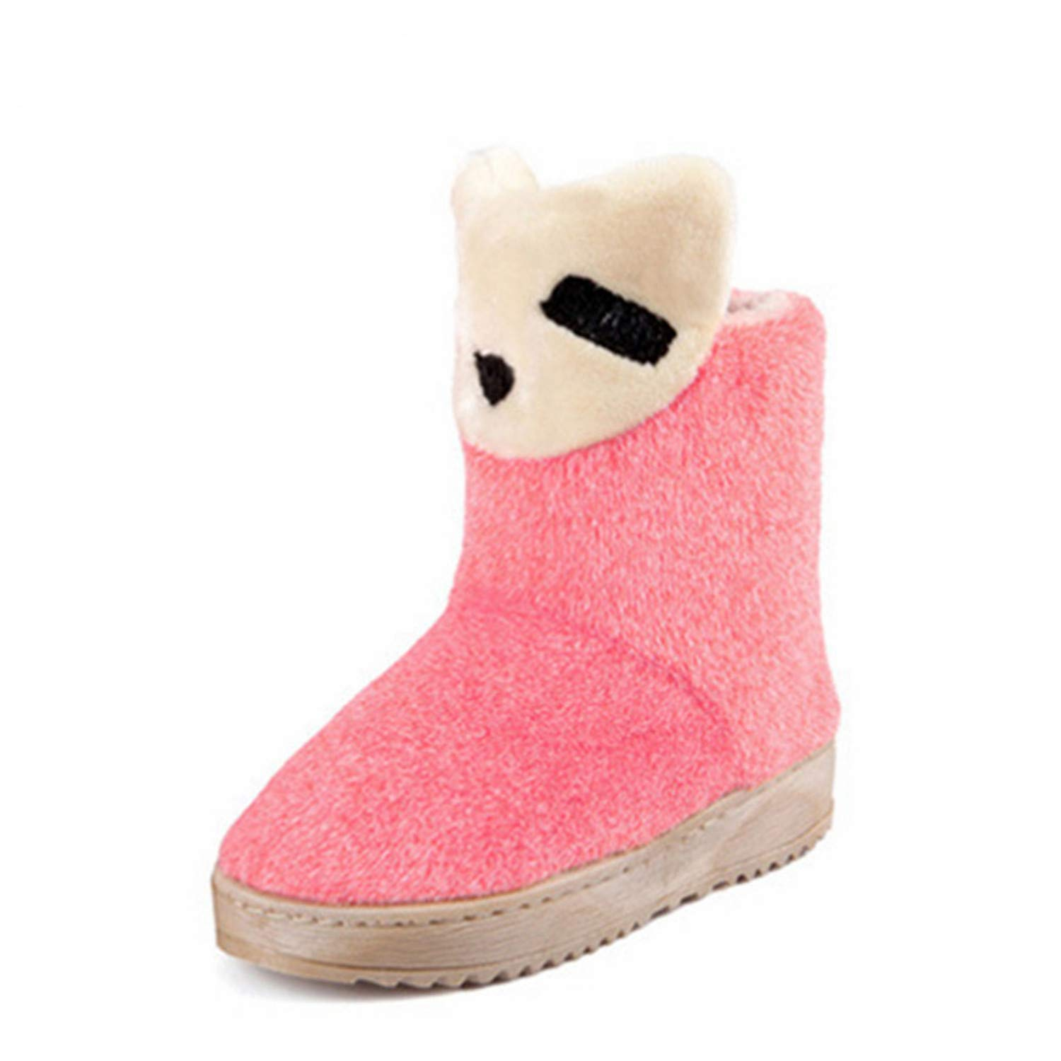 Kongsta Womens Snow Boots Winter Warm Flock Short Plush Indoor Shoes Casual Slip-On Thick Bottom Non-Slip Home Footwear