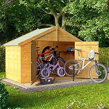 4 x 8 la lengua y Groove de madera Apex bicicleta almacenamiento doble puerta techo fieltro tienda cobertizo: Amazon.es: Jardín