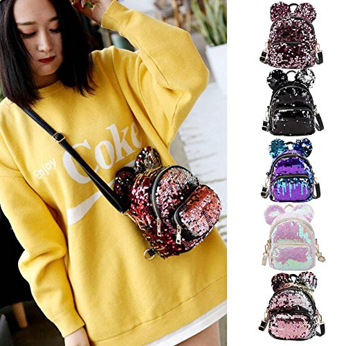 Bag Sequins Ideal Childerns Shaped Mini MaiYi Sequins Shoulders Ears Gold amp; Bag Adult Glittering amp; for Silver w1d5xq5Oz