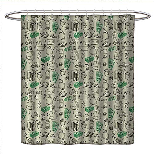 r Curtain Collection by Symbols of Monetary Systems Dollar Crypto Currency Bitcoin Sign Sketch Custom Made Shower Curtain W36 x L72 Pale Green Lime Green ()