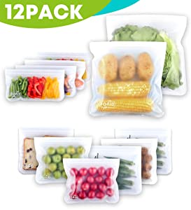 Reusable Storage Bags - 12 Pack EXTRA THICK Freezer bags (2 Reusable Gallon Bags & 6 Reusable Sandwich Bags & 4 Reusable Snack Bags) FDA Grade Leakproof ziplock lunch bag for Food Travel Items Storage