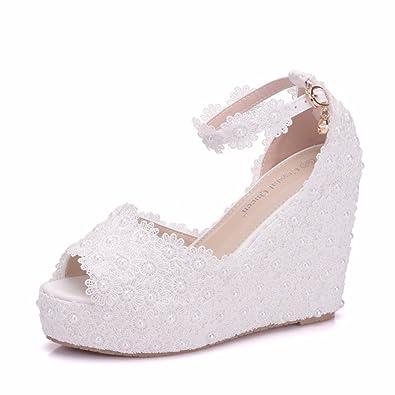 Damenschuhe Dünne Schuhe Fashion High Heel Hochzeit Schuhe Spitze Hohlen Blumen, 41, Weiß LEIT