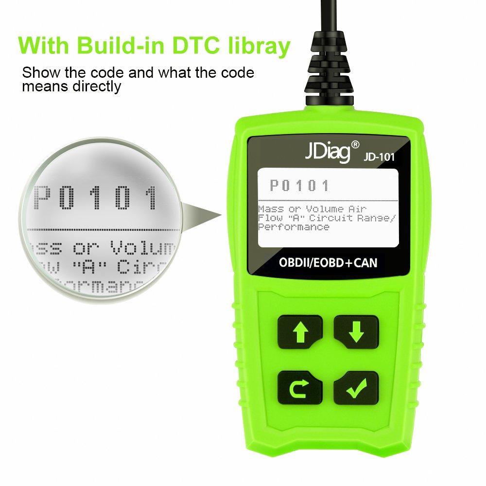 JDIAG JD101 OBD2 Scanner Check Engine Light Code Reader Car Diagnostic Scan Tool-Green
