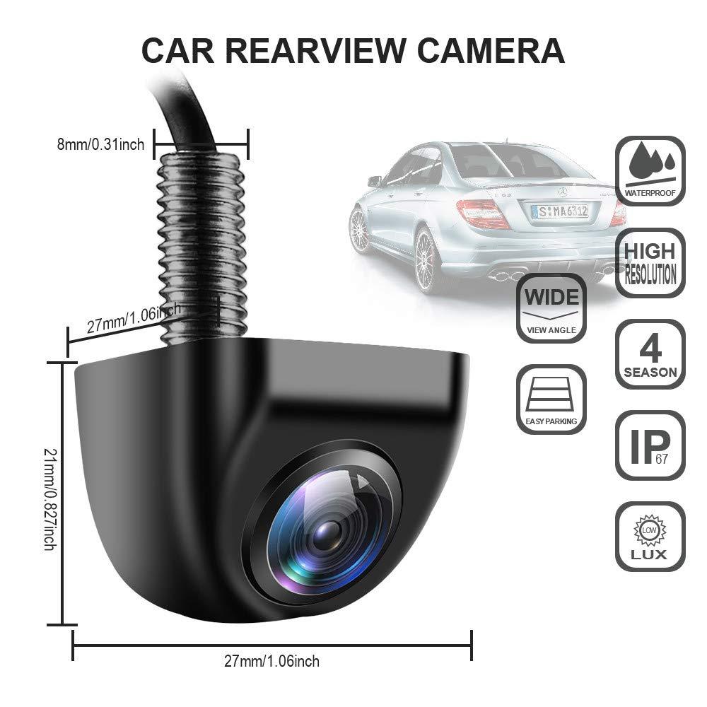Black Car Backup View Front Camera Night Vision HD Super Wide Viewing AngeI Metal Rear View Camera IP69K Waterproof Car Auto Rear Camera for Car Truck RV SUV