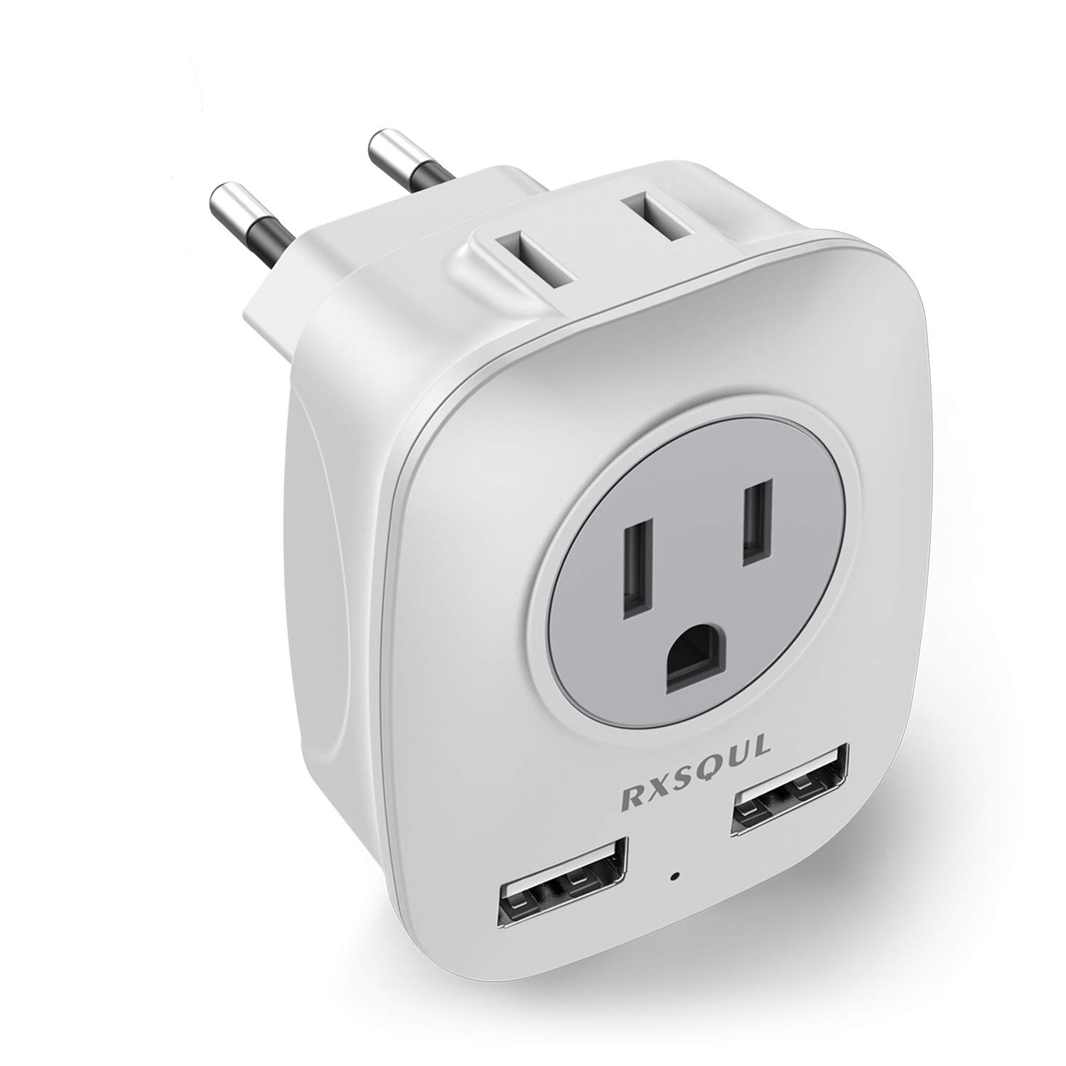 RXSQUL European Travel Plug Adapter, Universal International Power Travel Plug Adapter Converter with 2 USB Wall Charger, 2 x 15A Outlet Adapters for US to Europe EU Italy Spain Iceland-(White+Gray)