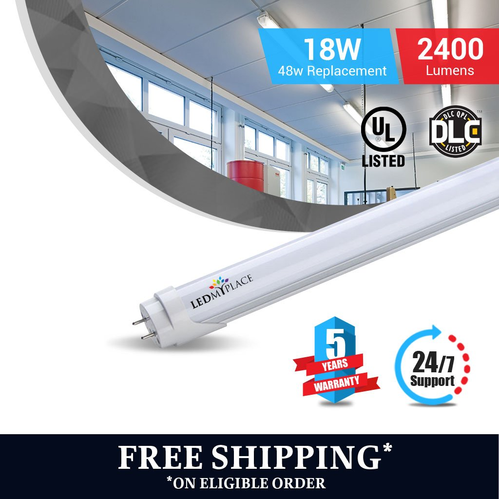 T8 4ft led tube 18w 5000K Frosted 2400 lumens Single Ended power 4pcs