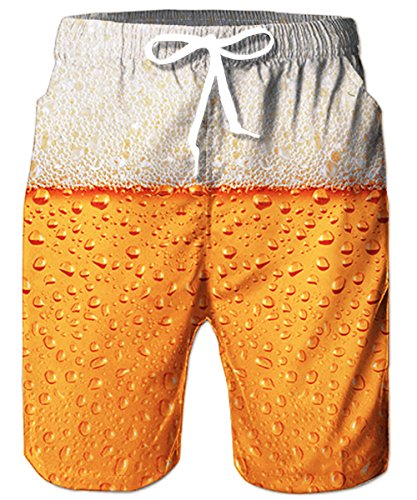 (TUONROAD Mens Swim Trunks Printing Beer Splashes Board Shorts Tropical Beach Theme Swimming Trunks Casual Style Swim Shorts,Medium,Beer)