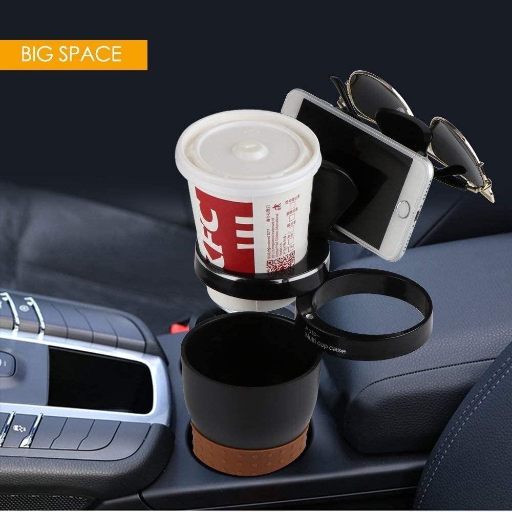 3 in 1 Multifunctional Car Cup Holder Kaimaily Storage Box 360 Degrees Adjustable Car Drink Cup Holder Storage Box Sunglass and Phone Holder
