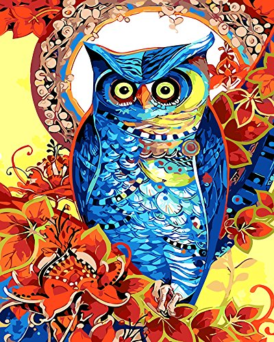 Prime Leader Wooden Framed Diy Oil Painting, Paint by Number Kit 16x20 inch T1346 Colorful Owl