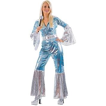 waterloo 70s disco blue ladies fancy dress halloween costume x small uk 6