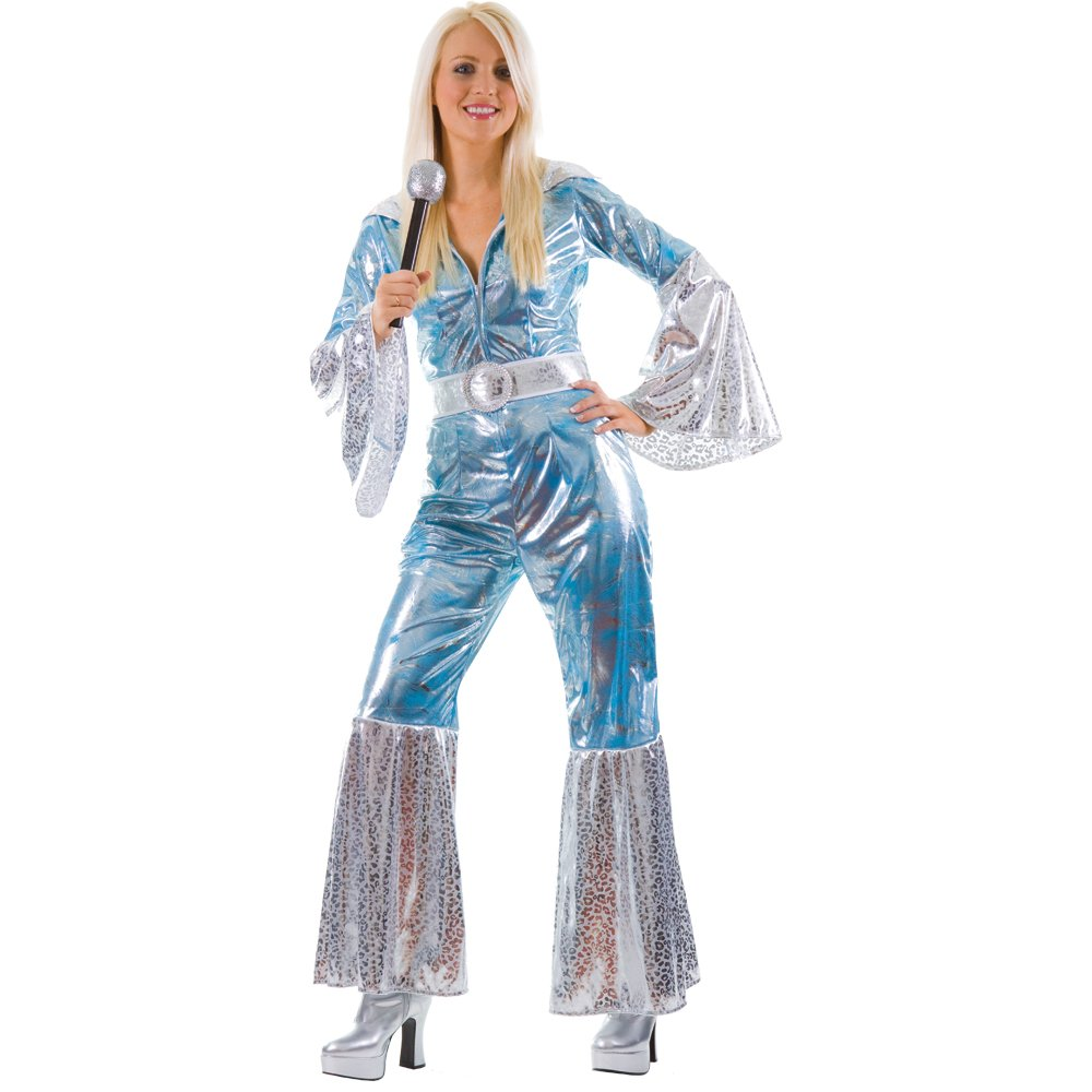 m ladies waterloo bluesilver costume for abba 70s 80s fancy dress amazoncouk clothing