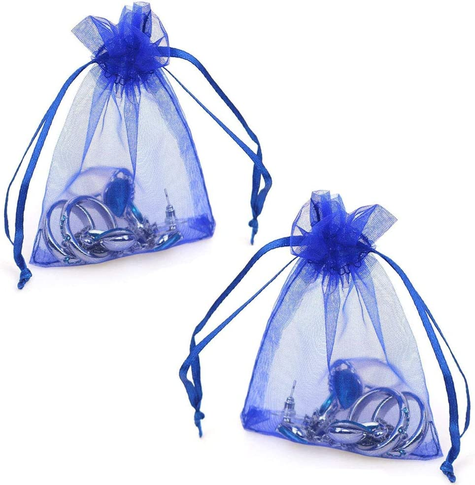 Royal Blue Organza Bags 100pcs 4 x 6 Inch Gift Bags Organza Drawstring Pouch Jewelry Party Wedding Favor Party Festival Gift Bags Candy Bags