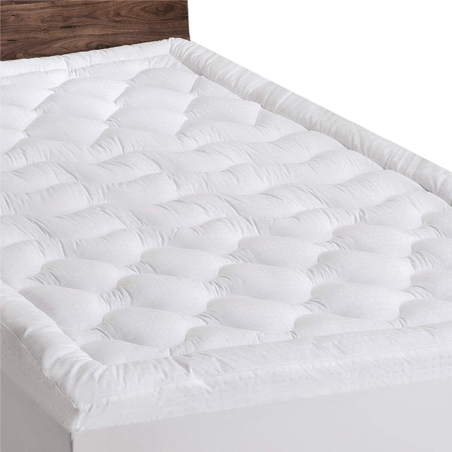 Queen Size Mattress Pad Soft Plush Fitted Pillow Top Bed Topper Protector Cover