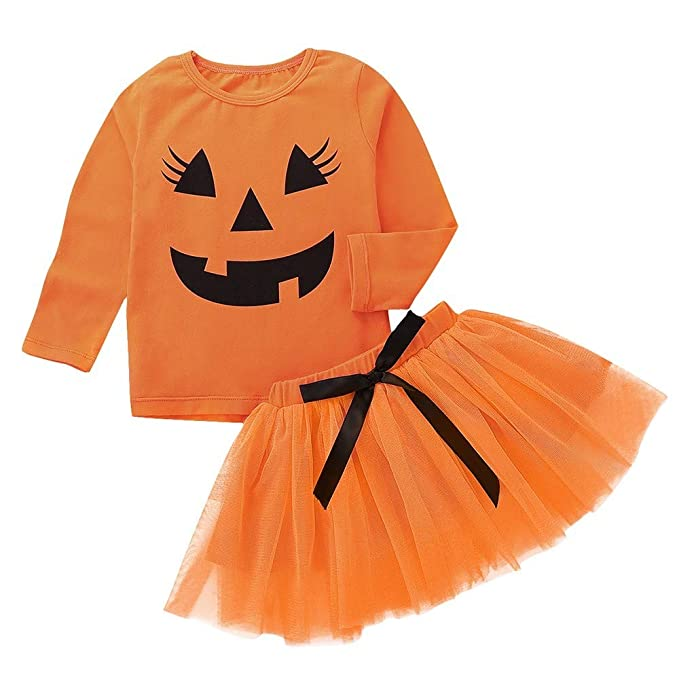 Halloween Kost/üm Baby My First Halloween Kleid K/ürbis Strampler M/ädchen Jungen Prinzessin Kleid Baumwolle Langarm Spielenanzug Cosplay Kleidung Schleife T/üll T/üt/ü Fotoshooting Geschenk Rock