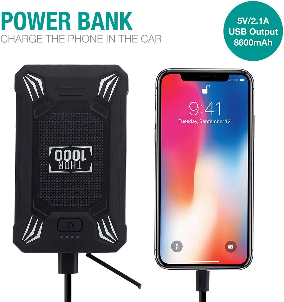 Car Battery Jump Starter Portable up to 4.0L Gas Or 2.0L Diesel Engine 600A Peak Waterproof 12V Portable Battery Booster Pack Safe Auto Power Bank with USB Port Smart Clamps /& LED Flashlight