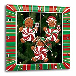 3dRose Peppermint Gingerbread Ornaments - Wall Clock, 13 by 13-Inch (DPP_14915_2)