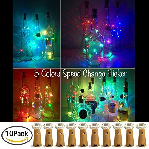 LoveNite Wine Bottle Lights with Cork 10 Pack Battery Operated 8 LED Cork Shape Copper Wire Colorful Fairy Mini String Lights for DIYPartyDecorChristmasHalloweenWedding 5 Colors Flicker