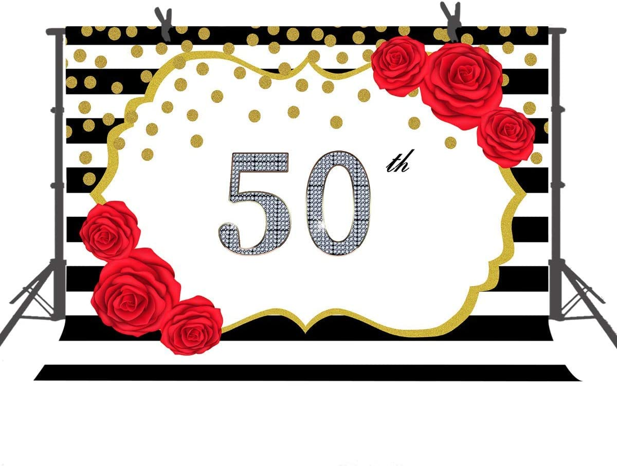 10x8ft Happy 50th Birthday Backdrop Red Flower Gold and Black 50th Banner Photography Birthday Decorations Portraits Photo Booth Background LYFU322